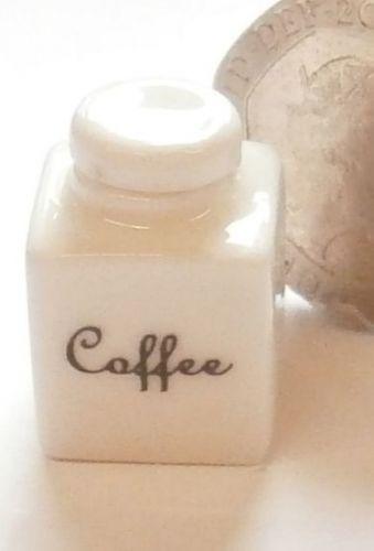 Square White China Storage Jar - Coffee