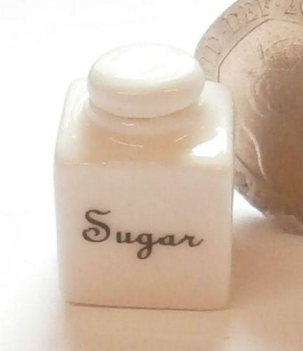Square White China Storage Jar - Sugar